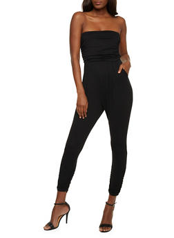 Solid Strapless Jumpsuit with Pockets - BLACK - 0045060583411