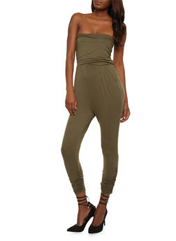 Solid Strapless Jumpsuit with Pockets - OLIVE - 0045060583411