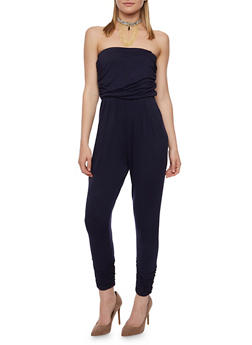 Solid Strapless Jumpsuit with Pockets - EVENING BLUE - 0045060583411