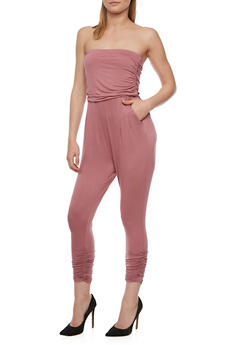 Solid Strapless Jumpsuit with Pockets - MESA ROSE - 0045060583411