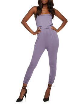 Solid Strapless Jumpsuit with Pockets - DUSK - 0045060583411