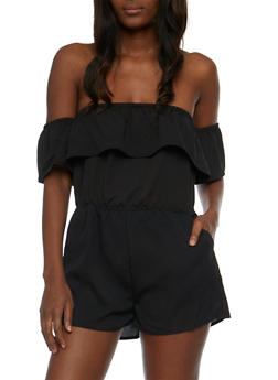 Crepe Knit Off the Shoulder Ruffled Romper - BLACK - 0045069390041