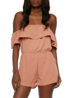 Crepe Knit Off the Shoulder Ruffled Romper - APRICOT - 0045069390041