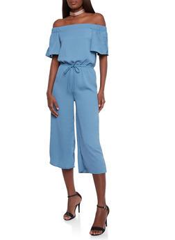 Off the Shoulder Wide Leg Capri Jumpsuit - STONE BLUE - 0045069390056