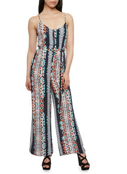 Henley Jumpsuit with Multicolored Tribal Print - 0045069396564