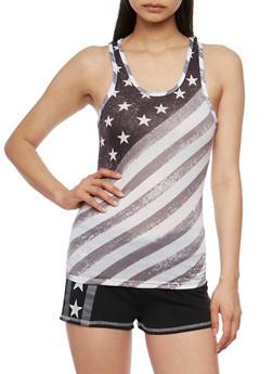 American Flag Athletic Racerback Tank Top - 0056038345100