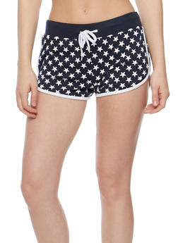 Star Print Drawstring Athletic Shorts - 0056038345301