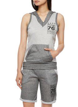 Hooded Vintage 76 Graphic Athletic Tank Top - 0056038345400
