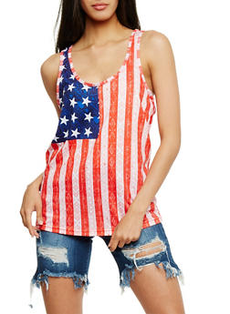 American Flag Racerback Tank Top - 0056038346200
