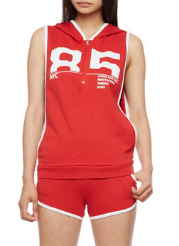 85 Graphic Athletic Tank Top with Hood - 0056038346300