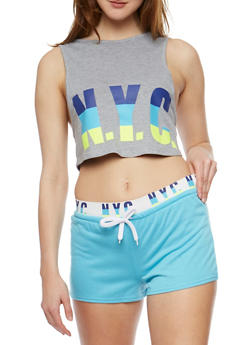 NYC Graphic Activewear Crop Top - 0056038346400