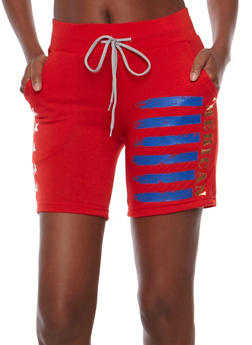 Stars and Stripes Graphic Active Bermuda Shorts - 0056038346801