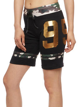 Number Graphic Athletic Shorts with Camo Trim - 0056038346902