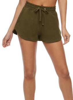 Athletic French Terry Drawstring Shorts - OLIVE - 0056054268290