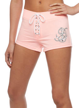 Graphic Lace Up Athletic Shorts - NEON PINK - 0056072296060