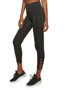 Cropped Lattice Detail Activewear Leggings - 0058054268570