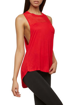 High Low Mesh Yoke Activewear Tank Top - 0058054268576