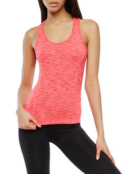 Marled Mesh Trim Activewear Tank Top - 0058054269291