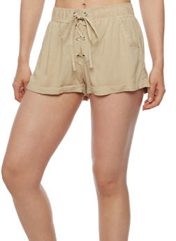 Solid Lace Up Shorts - KHAKI - 0060051061562
