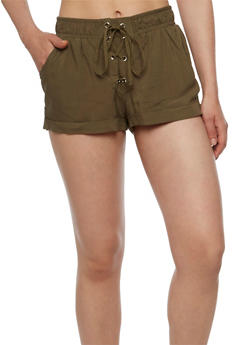Solid Lace Up Shorts - OLIVE - 0060051061562