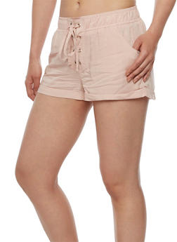Solid Lace Up Shorts - BLUSH - 0060051061562