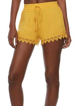 Gauze Knit Crochet Trim Shorts - 0060054266919