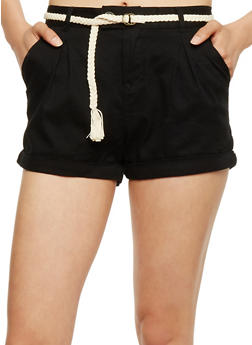 Five Pocket Twill Shorts with Braided Belt - 0060054269394