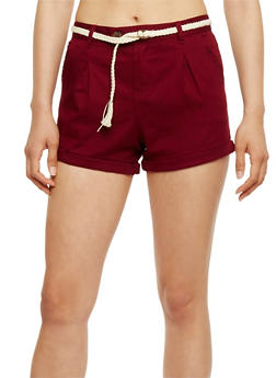 Five Pocket Twill Shorts with Braided Belt - BURGUNDY - 0060054269394