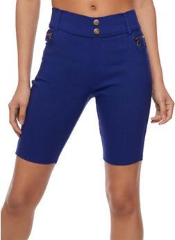 2 Button Denim Knit Stretch Shorts - 0060072710396