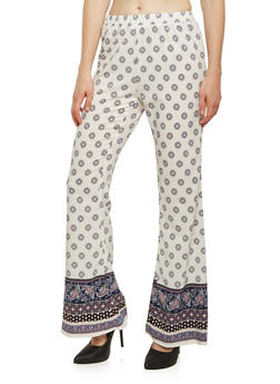 Pull On Palazzo Pants in Mixed Print - 0061061356236