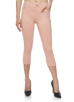 Solid Stretch Knit Capri Pants - 0066072711612