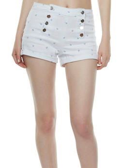 Almost Famous Button Front Sailor Shorts with Anchor Print - 0070015995835