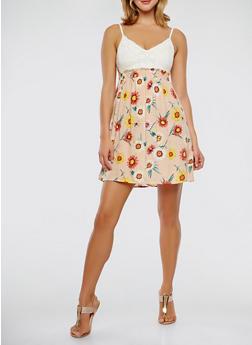 Crochet Top Floral Dress - 0090015050403