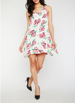 Sleeveless Floral Dress - 0090038345708