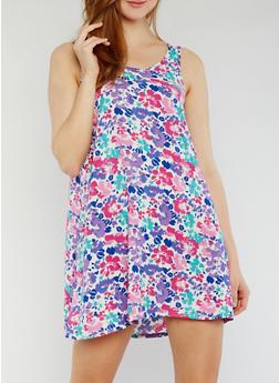 Sleeveless Floral Dress - 0090038345708