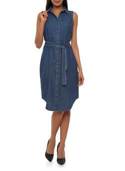 Sleeveless Denim Shirt Dress with Belt - 0090038347324