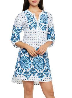 Printed Shirt Dress with Mandarin Collar - 0090038347708