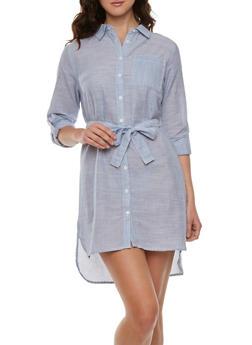 Striped Button Front Shirt Dress - 0090038347726