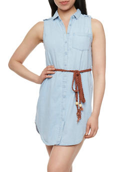 Denim Button Front Dress with Woven Belt - 0090038347728