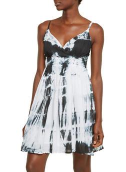 Tie Dye Dress with Surplice Neck - 0090038347731