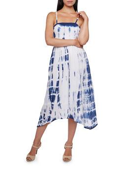 Smocked Spaghetti Strap Dress with Tie-Dye Print - 0090038347733