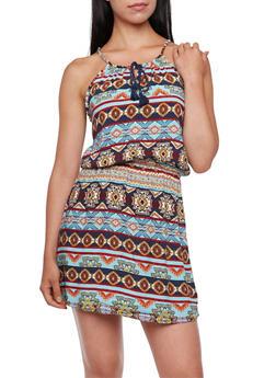 Printed Dress with Tassel Neckline - 0090038347735