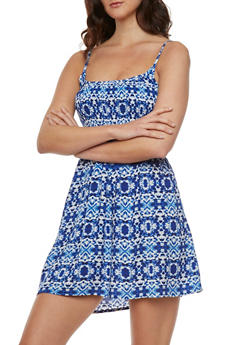 Printed Mini Dress with Smocked Bustier and Adjustable Straps - RYL BLUE - 0090038347738