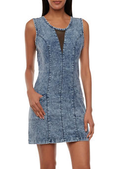 Acid-Wash Chambray Dress with Mesh Insets - 0090038347743