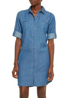 Chambray Shirt Dress - 0090038347747