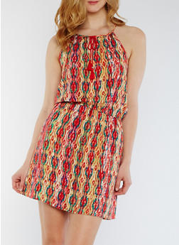 Sleeveless Printed Dress with Tie Neck - 0090038348706