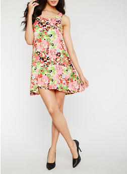 Sleeveless Floral Shift Dress - 0090038348708