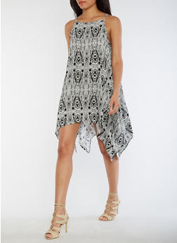 Printed Shift Dress with Asymmetrical Hem - 0090038348709