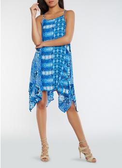 Printed Shift Dress with Asymmetrical Hem - 0090038348709