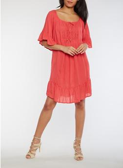 Crinkle Knit Crocheted Neckline Peasant Dress with Flounce Hem - 0090038348712